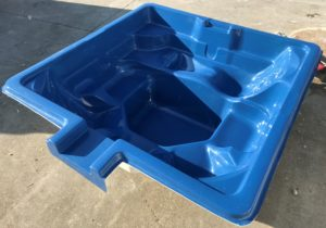 Leisure Pools Sorrento Spa Square w Spillover Sapphire Blue scaled